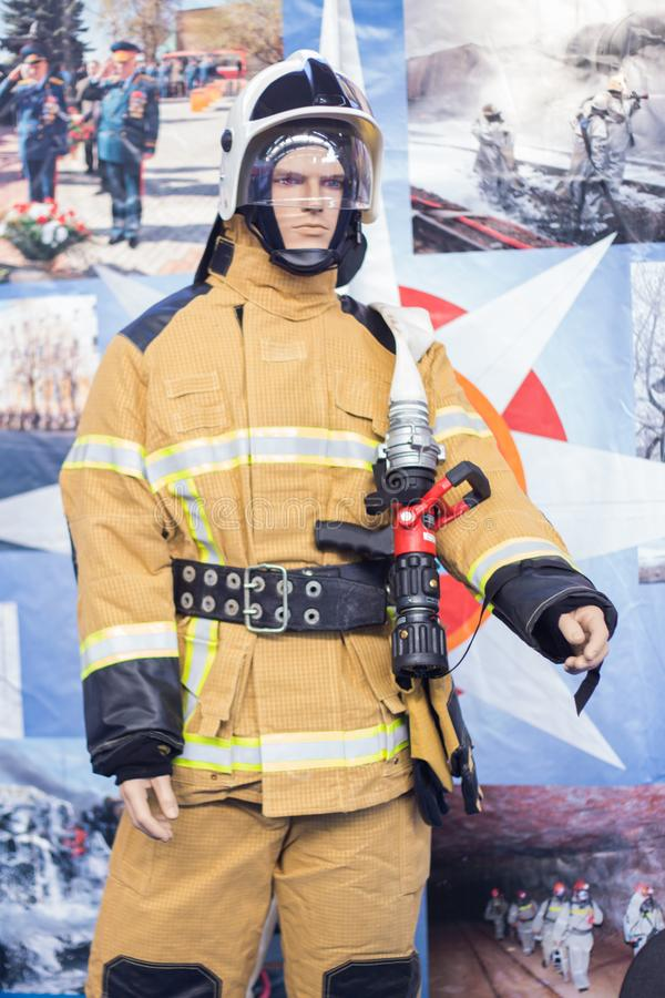 Specialized exhibition Security, protection, salvation. Mannequin of fireman stock image