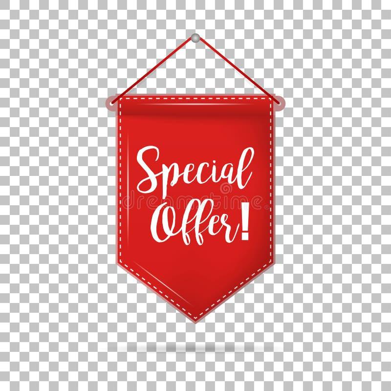 Specialt erbjudande för baneretikett med skugga på isolerad bakgrund royaltyfri illustrationer