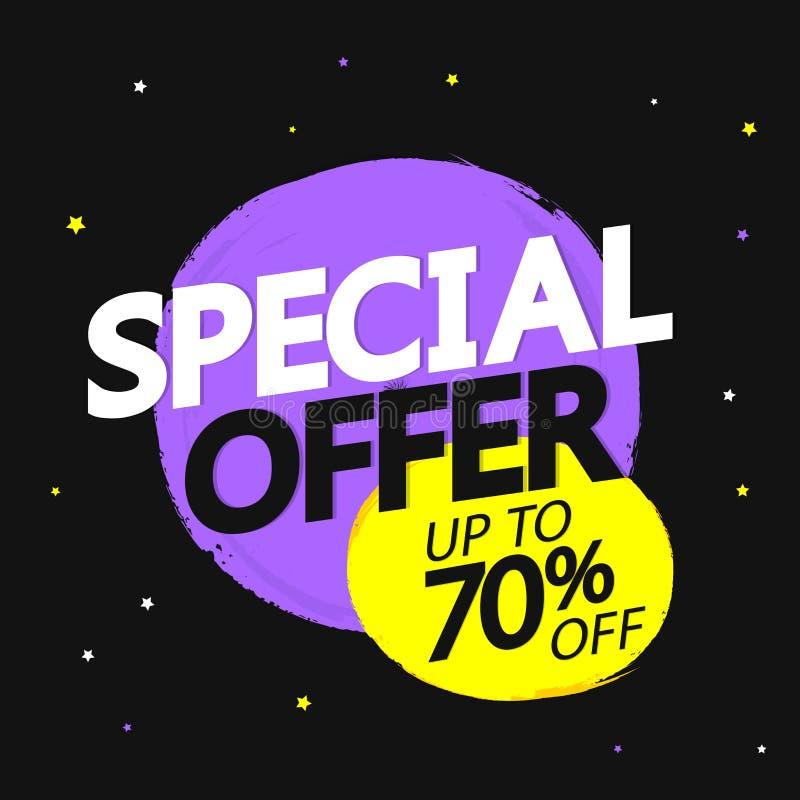 Specialt erbjudande, försäljning upp till 70% av, banerdesignmall, rabattetikett, just nu, vektorillustration vektor illustrationer