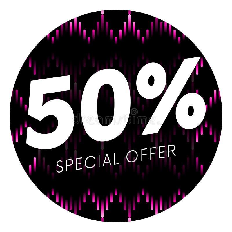 Specialt erbjudande femtio procent textbaner eller klistermärke på musikalisk mörk bakgrund också vektor för coreldrawillustratio royaltyfri illustrationer