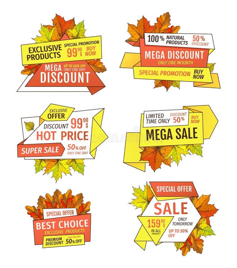 Specialt erbjudande Sale endast i morgon femtio procent av vektor illustrationer
