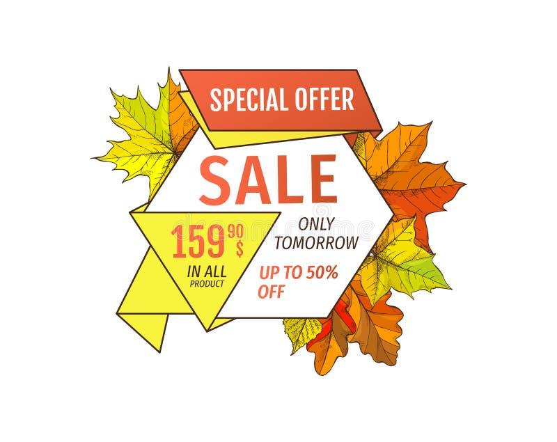 Specialt erbjudande Sale endast i morgon femtio procent av stock illustrationer