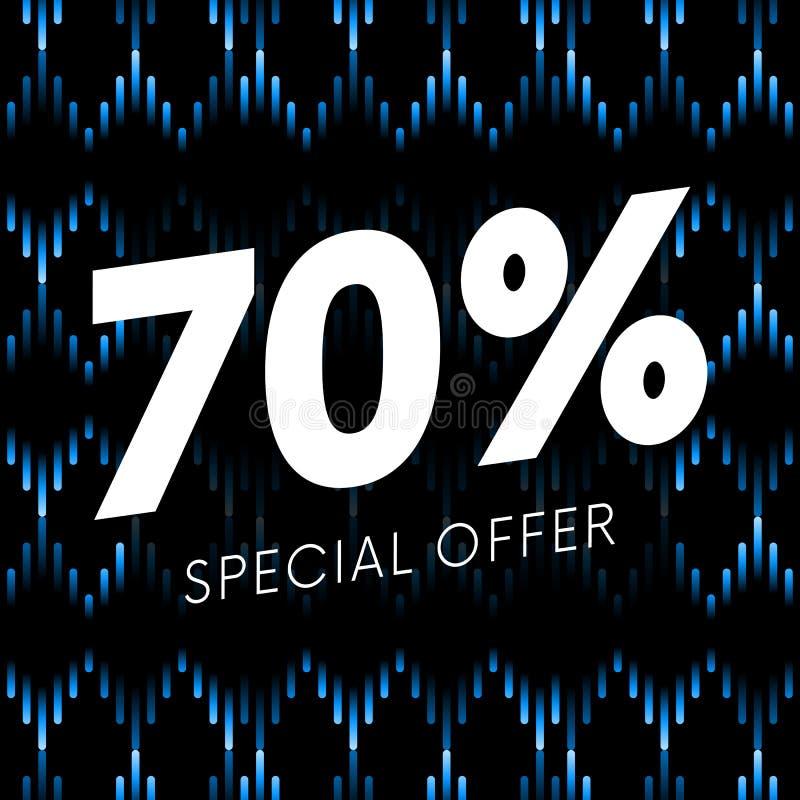 Specialt erbjudande sjuttio procent textbaner på musikalisk mörk bakgrund vektor stock illustrationer