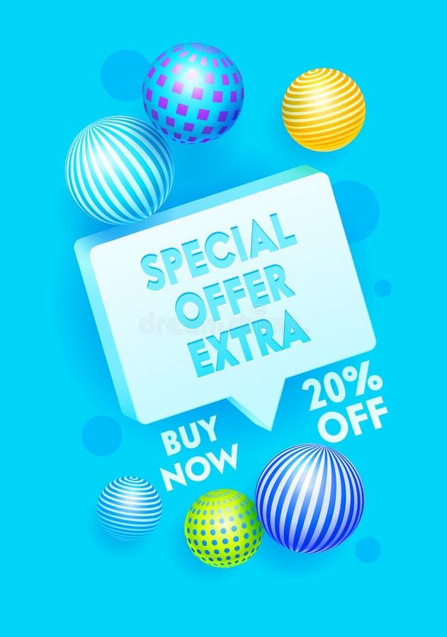 Specialt extra erbjudandebaner, tryckbar Promo som annonserar broschyren Befordran- och shoppingmall för varma Sale Content vekto stock illustrationer