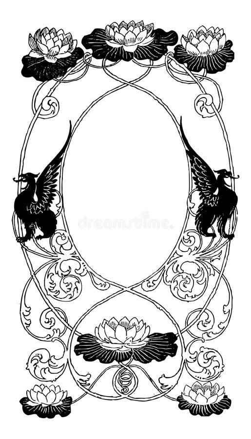 specialtillverka den blom- ramen egeer text till royaltyfri illustrationer