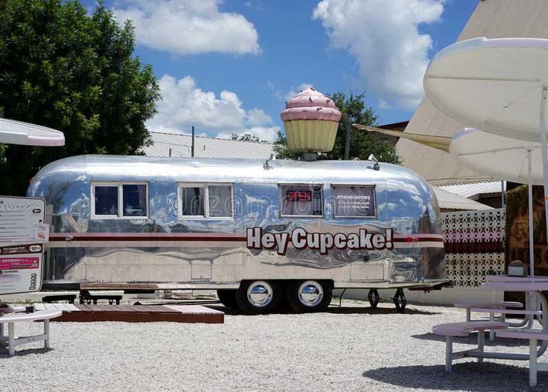 Specialty cupcake food vendor. Hey Cupcake vendor is part of the Austin, Texas food truck craze with specialty culinary offerings all over the city stock photo