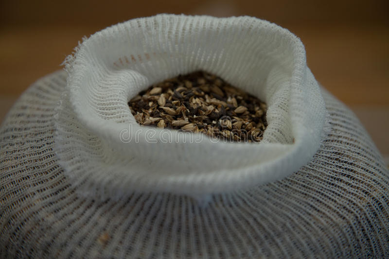 Specialty Grains in a Muslin Bag royalty free stock photo