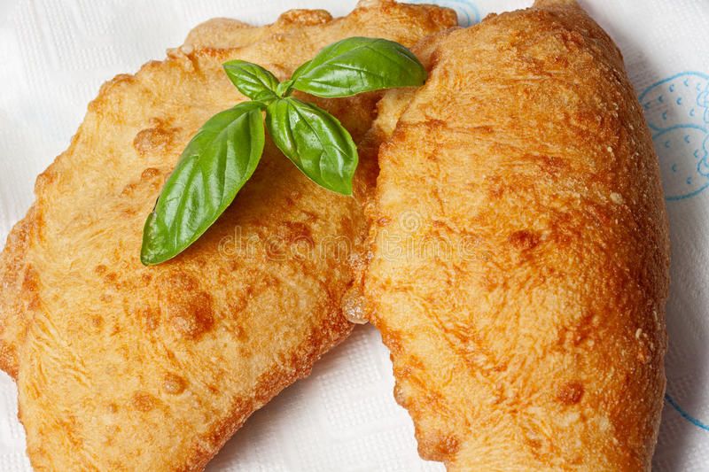 Specialty of the Puglia. Typical specialty of Puglia, the panzerotto stock photo