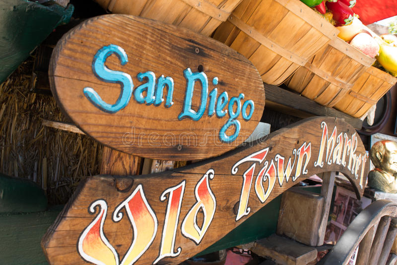 Specialty Shops of Old Town Market, San Diego, California. Signage directing visitors to Old Town Market, San Diego, California for hand crafted shopping stock photo