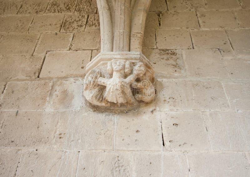 Specificerar av dekor av den Bellapais abbeyen royaltyfri foto