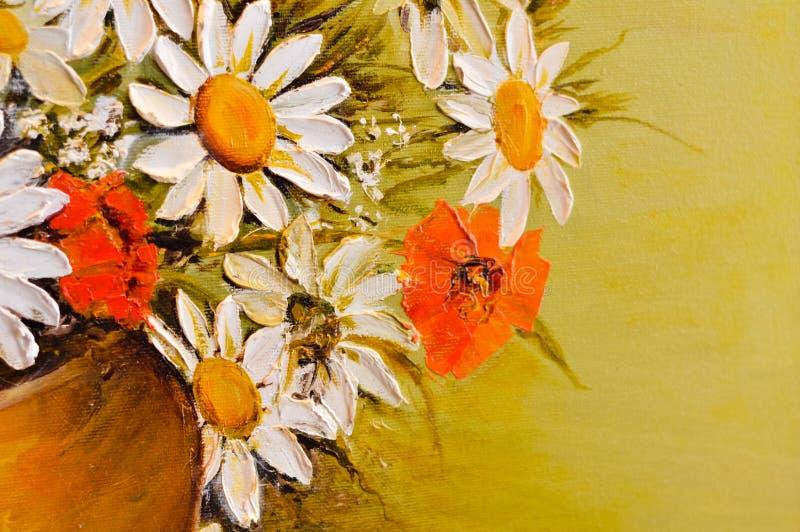 Specificerar olje- målning för tusensköna- och vallmoblommor closeupen royaltyfri fotografi