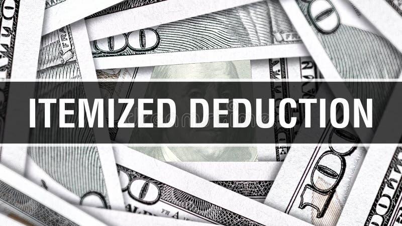 Specificerat avdragCloseupbegrepp Amerikanska dollar kontanta pengar, tolkning 3D Specificerat avdrag på dollarsedeln Finansiella vektor illustrationer