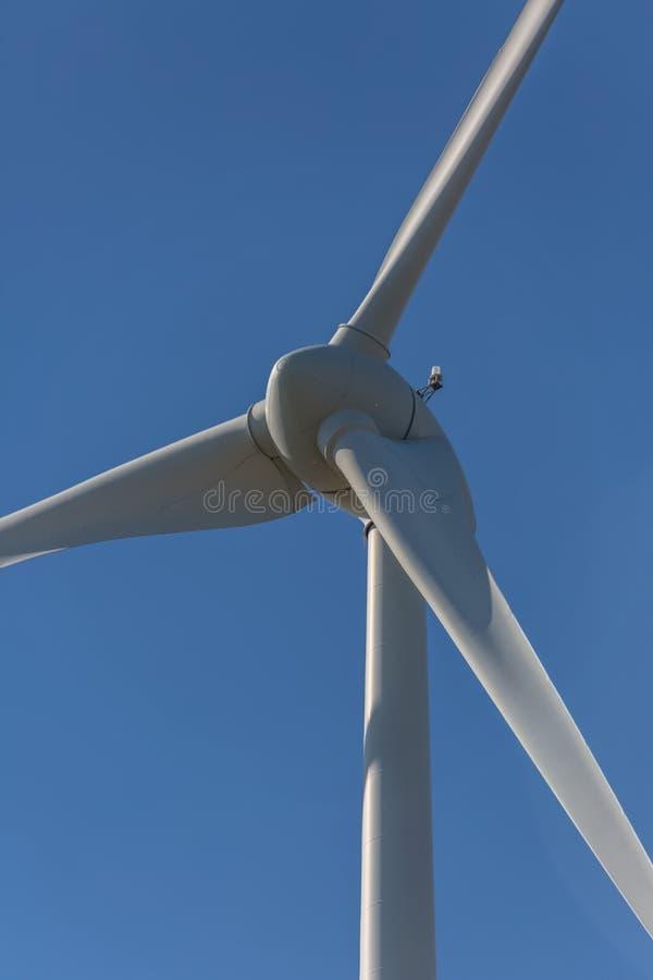 Specificerat t?tt upp sikt av turbiner f?r en vind; generator-, rotor- och bladsikt arkivbilder