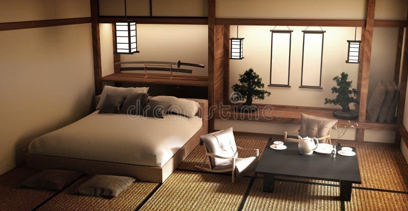 Specifiek ontworpen in Japanse de ruimte en de decoratie Japanse stijl van het stijlbed het 3d teruggeven stock illustratie