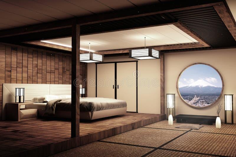 Specifiek ontworpen in Japanse de ruimte en de decoratie Japanse stijl van het stijlbed het 3d teruggeven vector illustratie