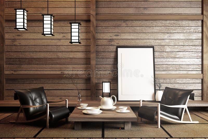 Specifiek ontworpen in Japanse stijl, lege ruimte het 3d teruggeven royalty-vrije illustratie