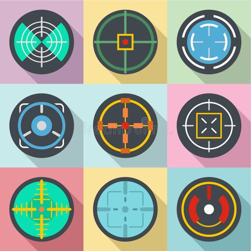 Specifieke geplaatste doelpictogrammen, vlakke stijl stock illustratie