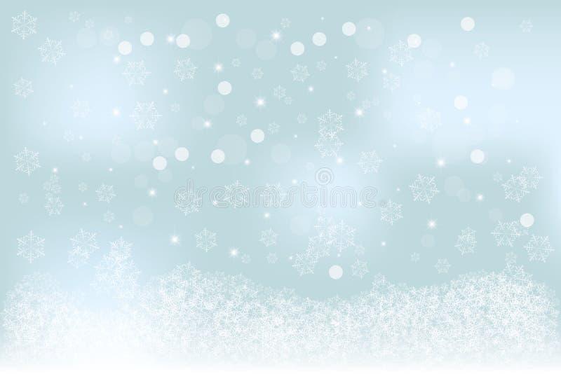 Specifik mjuk suddig vinterbakgrund för jul med blått, turkosbokeh, snöflingamodell stock illustrationer