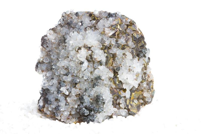 Specimen Of Calcite And Iron Pyrites Royalty Free Stock Images
