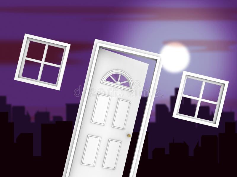 Specjalista ds. Hipoteki Oficer Drzwi Znaczący Doradca Finansowy Lub Broker - Ilustracja 3d ilustracji