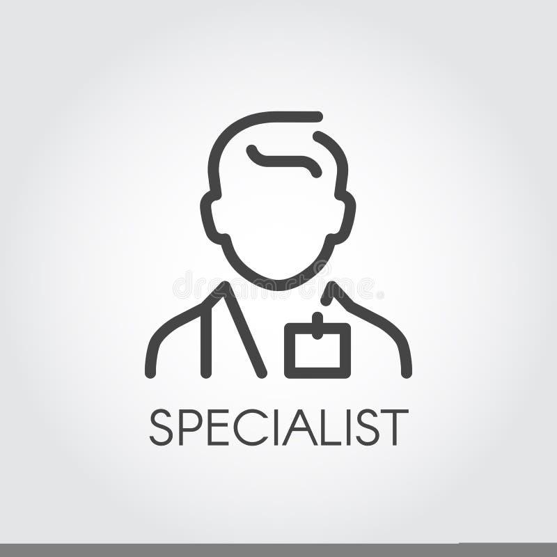 Specjalista nauki medyczne, lekarka, konsultanta konturu ikona Portret samiec doc Zawód pomaga ludzie logów royalty ilustracja