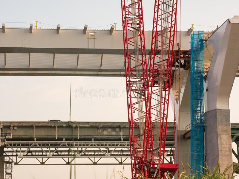 Specjalizuje się bridżową budowę przy złotą godziną, Montreal, Quebec, Kanada fotografia royalty free