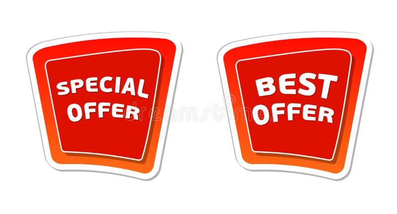 Specjalna i najlepszy oferta w czerwonych sztandarach ilustracji