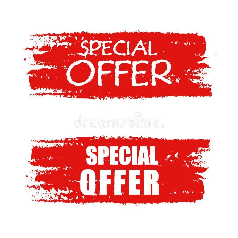 Specjalna oferta na czerwień rysującym sztandarze ilustracji