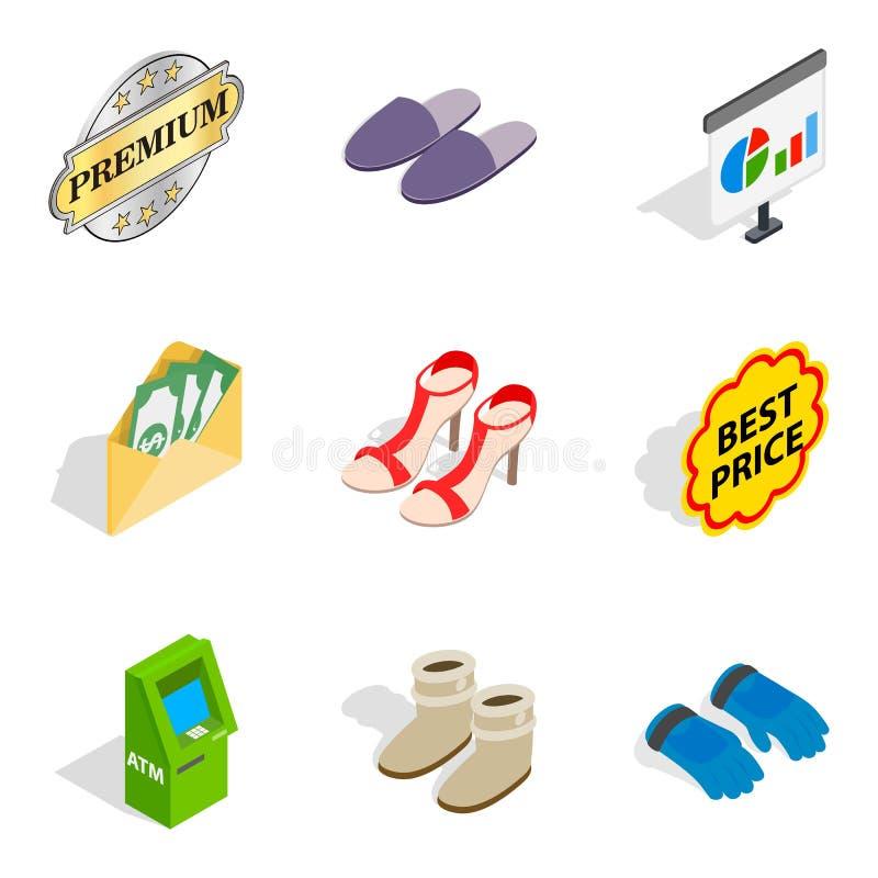 Specjalne obuwie ikony ustawiać, isometric styl ilustracji
