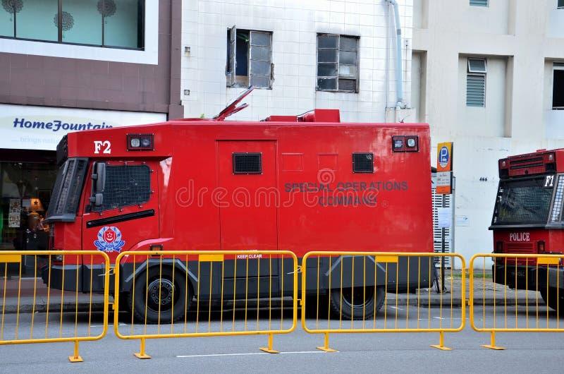 Specjalne Operacje Dowodzą milicyjnego kontrolnego pojazd - Singapur zdjęcia royalty free