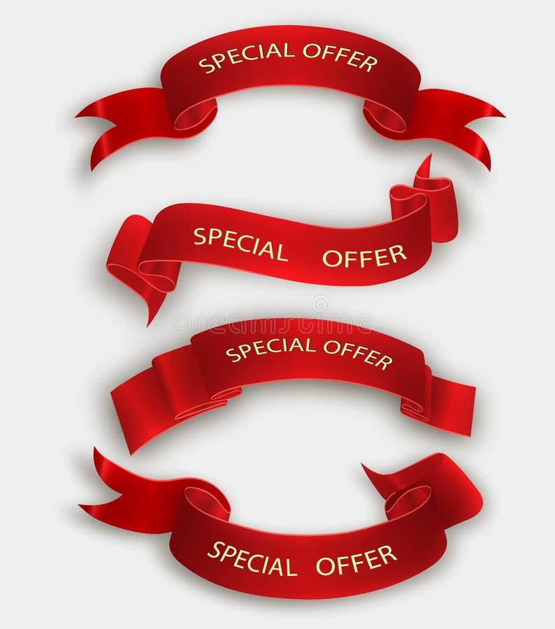 Specjalnej oferty faborek czerwona ślimacznica Sztandar sprzedaży etykietka Targowy specjalnej oferty rabat ilustracja wektor