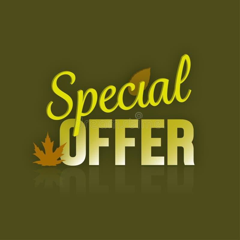 Specjalnej oferty jesieni spadku Typograficzny sztandar i liście ilustracja wektor