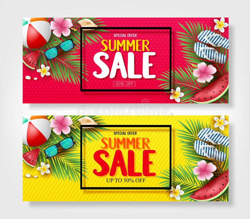 Specjalnej oferty lata sprzedaży sztandary z liśćmi, kwiatami, arbuzem, okularami przeciwsłonecznymi i kapciami w drzewka palmowe ilustracja wektor