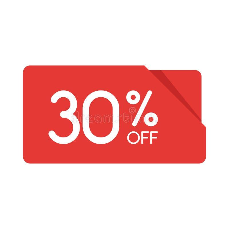 Specjalnej oferty sprzedaży prostokąta origami czerwona etykietka Pomija 30 procentów oferty ceny etykietkę, symbol dla kampanii  royalty ilustracja