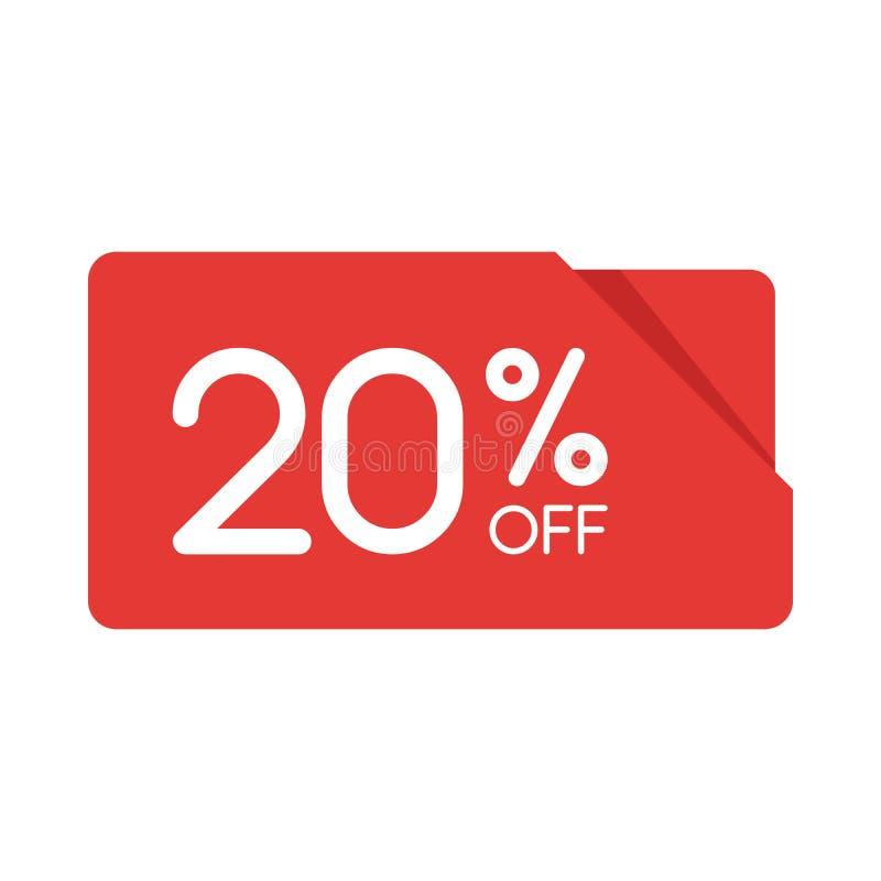 Specjalnej oferty sprzedaży prostokąta origami czerwona etykietka Pomija 20 procentów oferty ceny etykietkę, symbol dla kampanii  royalty ilustracja