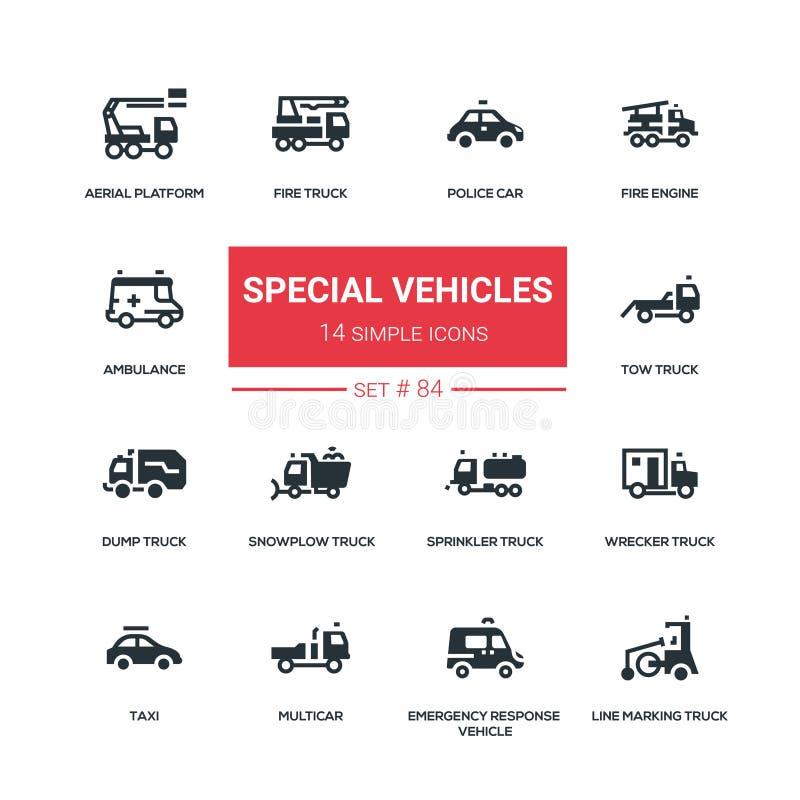 Specjalni pojazdy - płaskie projekta stylu ikony ustawiać ilustracji
