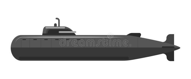 Specjalny militarny podwodny transport w kuloodpornym czarnym korpusie językowym ilustracja wektor