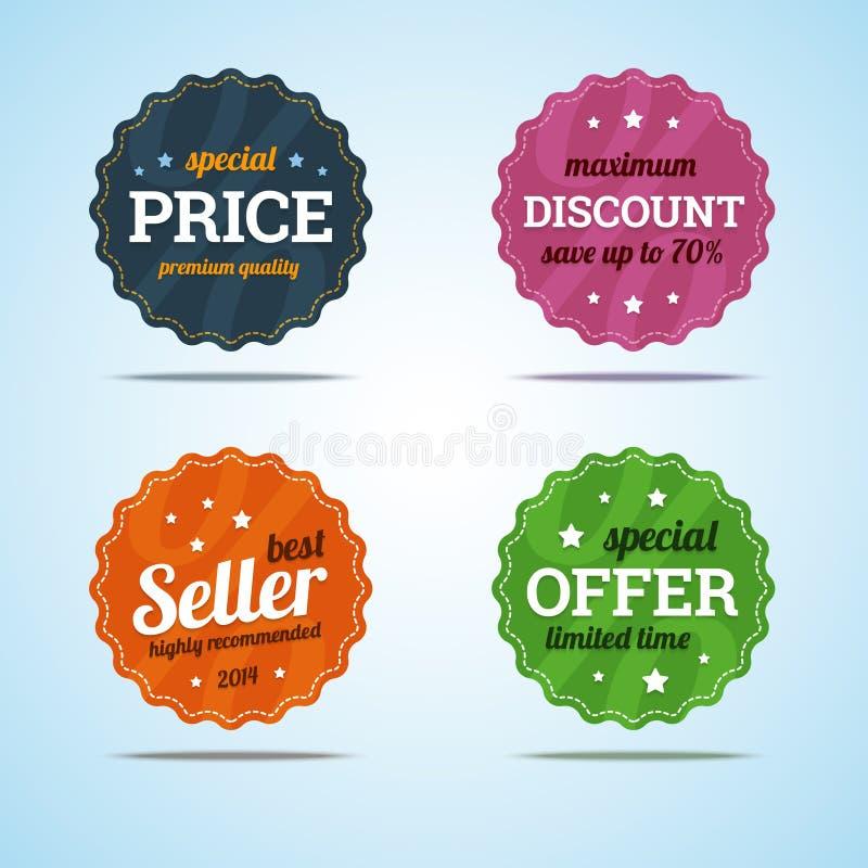 Specjalny ustawiający premii sprzedaży odznaki w mieszkanie stylu ilustracji
