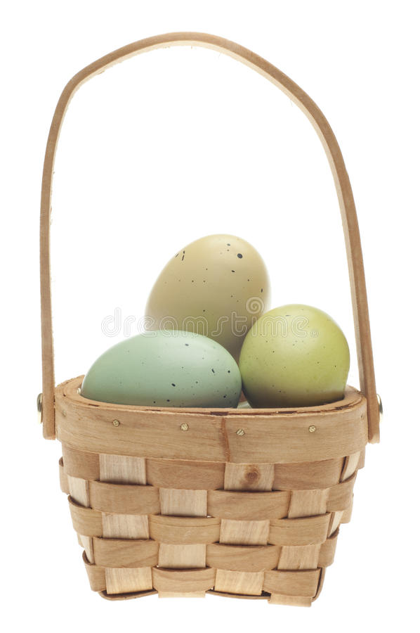 Download Speckled Easter Eggs In A Basket Isolated Royalty Free Stock Images - Image: 18122229