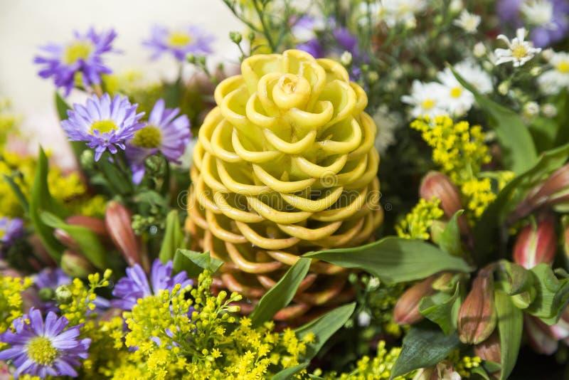 spectabile的姜-异乎寻常的花 顶视图 免版税库存照片
