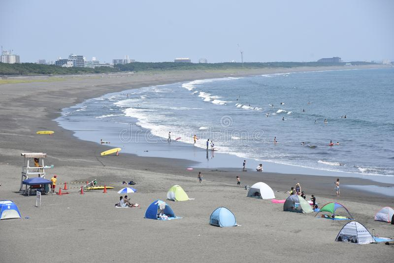 The view of the midsummer seaside. The spectacle of the beach of midsummer of Japan Kanagawa Shonan Coast royalty free stock image