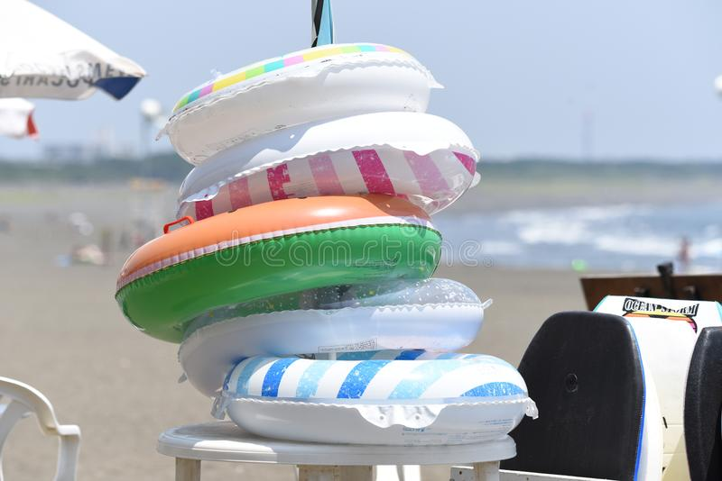 The view of the midsummer seaside. The spectacle of the beach of midsummer of Japan Kanagawa Shonan Coast stock images