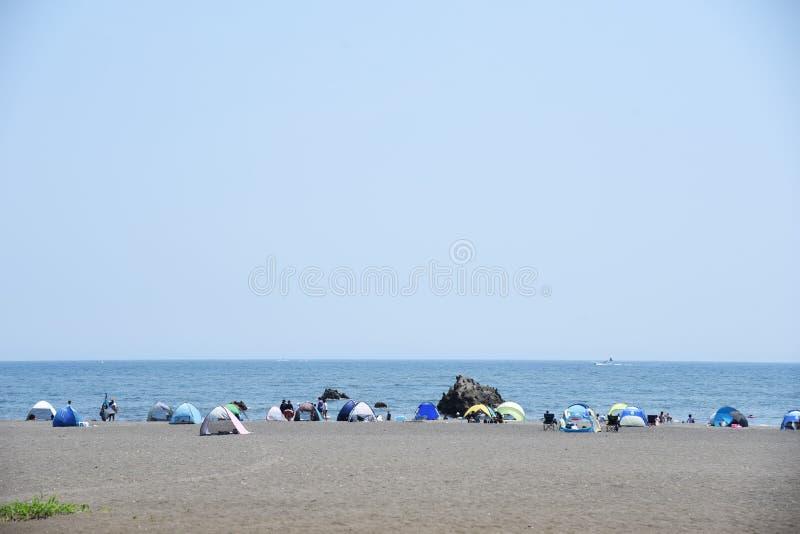 The view of the midsummer seaside. The spectacle of the beach of midsummer of Japan Kanagawa Shonan Coast stock photos