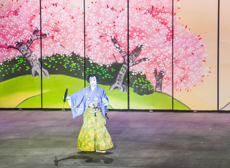 Spectacle de Kabuki aux fontaines de Bellagio photo stock