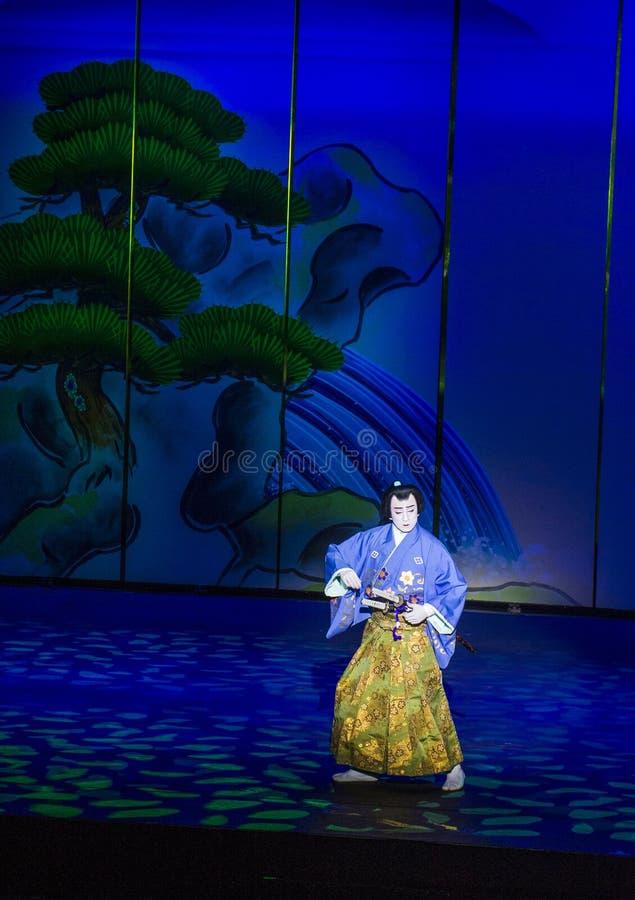 Spectacle de Kabuki aux fontaines de Bellagio photo libre de droits