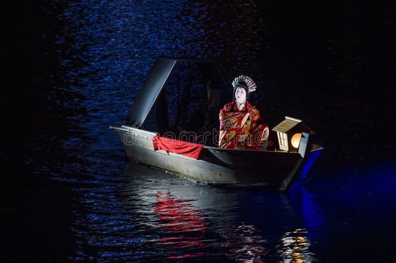Spectacle de Kabuki aux fontaines de Bellagio images libres de droits