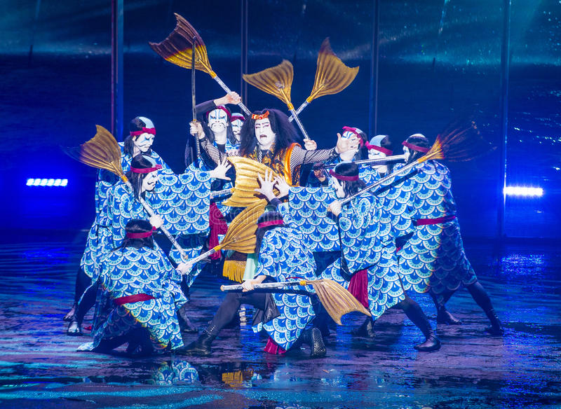 Spectacle de Kabuki aux fontaines de Bellagio photographie stock