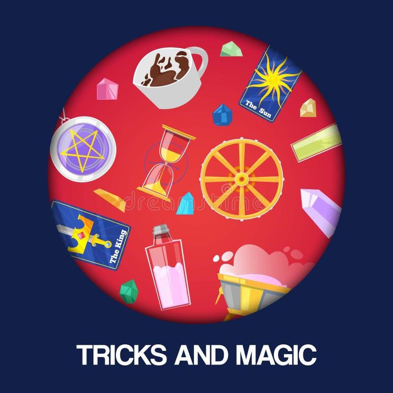 Spectacle de magie, représentation de tours, illustration de vecteur de bannière de fond de cirque Accessoires pour le magicien,  illustration stock
