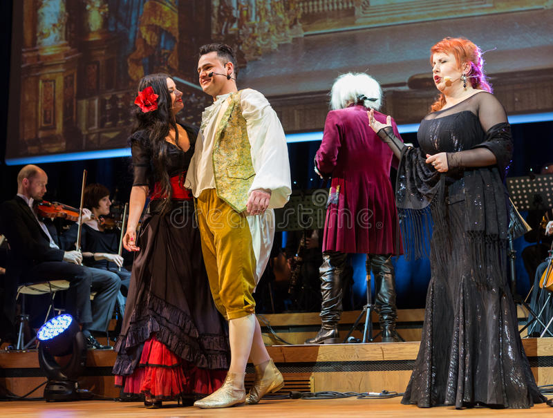 Spectacle featuring Filharmonia Futura and M. Walewska - Opera Is Life. CRACOW, POLAND - FEB 27, 2016: Spectacle featuring Filharmonia Futura and M. Walewska stock images