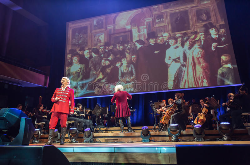Spectacle featuring Filharmonia Futura and M. Walewska - Opera Is Life,. CRACOW, POLAND - FEB 27, 2016: Spectacle featuring Filharmonia Futura and M. Walewska stock images
